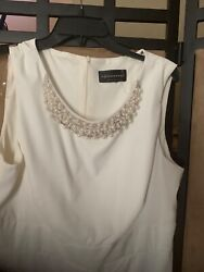 Connected Apparel Womens Dress White beaded  Party Cocktail Size 14 $17.99