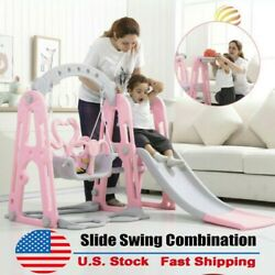 Kids Swing Set For Backyard Playground Slide Fun Playset Outdoor Toddler Gifts A $80.67