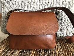 👜 FOSSIL MAYA FLAP GENUINE LEATHER COGNAC BROWN CROSSBODY SWING PACK BAG NEW $12.50