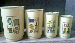 Set of 4 Vintage Kitchen Canisters Mid Century Motif Plastic $19.99