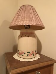 Country Lamp Handpainted Stencils Ceramic Pottery Base $40.00