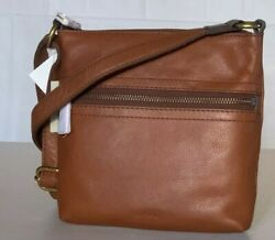 NWT FOSSIL VOYAGER SM XBODY Bag Ladies Brown Leather Crossbody SBH2049210 $98 $42.88
