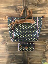 Fossil Handbag Purse and Wallet EUC Navy With Porcupine Pattern $15.99