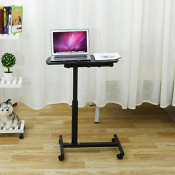 Adjustable Height Laptop Stand Rolling Cart Desk Computer Table Portable Wheels $45.59