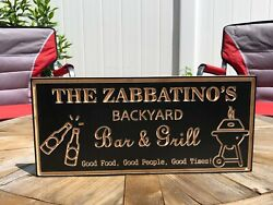 Backyard Sign Wood Engraved Bar amp; Grill Sign Personalized Outdoor Sign