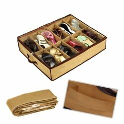 12 Pairs Foldable Shoes Storage Organizer Holder Container Under Bed Closet Case $10.32