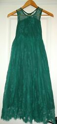 Trish Scully Girls#x27; 8 Green Lace Sleeveless Lined Dress EUC $29.95