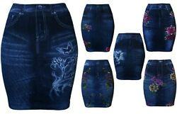 Womens Denim Look Printed Seamless Fitted Skirt $8.95