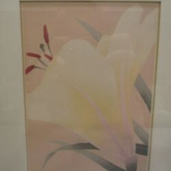 Leslie#x27;s Lily Signed Framed Art Print 11 152 Cream Ivory Flower 10.25quot; x 8.25quot; $13.59
