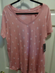 TORRID CLASSIC FIT V-NECK HERITAGE COTTON DUSTY ROSE CACTUS TOP   NEW $26.36