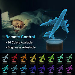Airplane Lamp3D Illusion Night Light with 16 Color Remote Control for Kids Gift $19.55