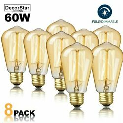 DecorStar Edison Light Bulbs Dimmable E27 60W Antique Vintage Light Bulb 8-Packs $15.81