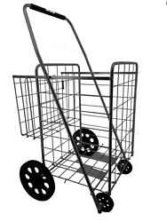 Utility Shopping Cart Foldable Jumbo Basket Outdoor Grocery and Laundry $49.99