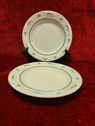 Longaberger Woven Traditions Heritage Green Set of 2 Bread Plates 7 1 4quot; $19.99