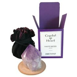 New Crystal Heart Amethyst Happiness Empowerment Gemstone Crystal with Pouch $29.99