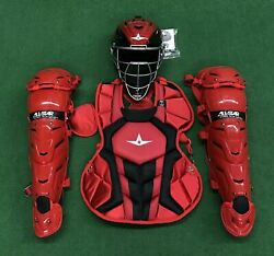 All Star System 7 Axis Youth 10-12 Catchers Gear Set - Red Black $349.95