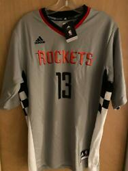 ADIDAS HOUSTON ROCKETS JAMES HARDEN GREY SHORT SLV JERSEY LARGE  $70 NEW w TAGS $25.00