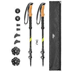 Cascade Mountain Tech Trekking Poles Carbon Fiber Strong Adjustable Hiking or $55.57