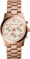 Brand New Women's Michael Kors Runway Rose Gold-Tone Chronograph Watch MK5128