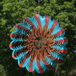 Sunnydaze 3D Hanging Reflective 3D Multi-Color Sun Whirligig Wind Spinner - 12