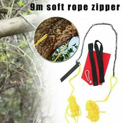 9m High Reach Limb Rope-and-Chain Saw Chain Branch Tree Trimmer Soft Rope Zipper $23.41