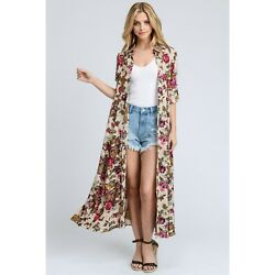 Long Fall Floral Duster or Dress New Magenta Mix Button Front New M $39.99