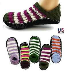 Womens Woven Knit Knitted Slip-On Slippers Socks Shoes Non-Skid House Indoor $5.99