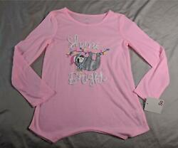 So Girls Long Sleeve Shine Bright Sloth Print Pajama Top BF5 Pink Size 8 NWT $11.04