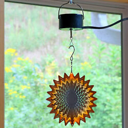 Sunnydaze 3D Hanging Orange Star Wind Spinner with Electric Operated Motor - 6