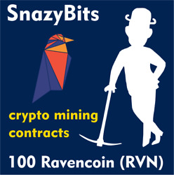 100 Raven Coin (RVN) CRYPTO MINING CONTRACT 100 RVN Crypto Currency $3.49