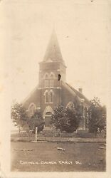 Early IA~Scared Heart Roman Catholic Church~Fruit Trees? Beyond Fence RPPC c1918 $17.25