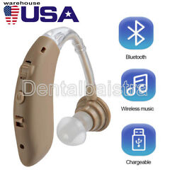 Digital Bluetooth Rechargeable Hearing Aid Mini In Ear Adjustable USB Beige $28.16