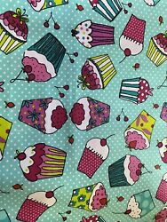 Novelty Kids CUPCAKES Muffins Bakery Cherry Fabric By the Half Yard 100% Cotton $3.99