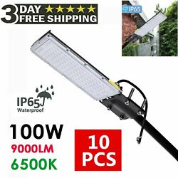 10Pcs 9000LM Street Lamp Cold White 100W with Bracket Lighting Commercial Street