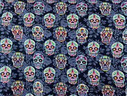 SUGAR SKULLS & ROSES 100% COTTON FABRIC GOTHIC HALLOWEEN FABRIC DIY BY THE YARD $10.99