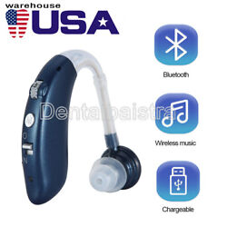 Digital Bluetooth Rechargeable Hearing Aid Mini In Ear Adjustable USB Blue USPS $28.16