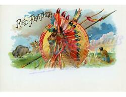 Red Feather Outer Indian Chief Harris Litho Original Cigar Box Label NEW Conditi $699.95