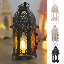 Moroccan Lantern Candle Holders Iron Glass Candlestick for Home Patio Wedding $15.89