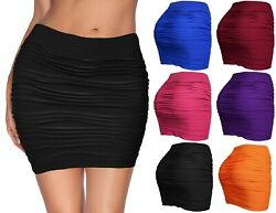 Womens Mini Stretch Seamless Solid Basic Pleated Bodycon Skirt $11.95