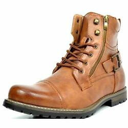 US Men#x27;s Combat Motocycle Boots Lace Up Riding Hiking Buckle Touring Shoes $29.16