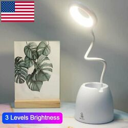 LED Desk Light Table Reading Lamp Dimmable Rechargeable Touch Control Pen Holder $14.88