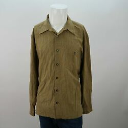 Axis Brown Long Sleeve Button Front Chest Pocket Check Casual Shirt Mens XL $18.95