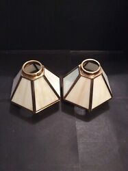 MATCHING PAIR OF BRASS STAINED GLASS amp; BEVELED CLEAR GLASS SHADES $40.00
