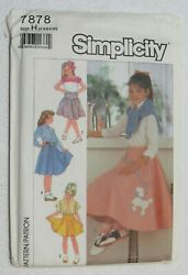 Simplicity 7878 Girls Poodle Skirt Sewing Pattern Size 7 8 10 Vintage New $21.99
