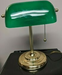 Vintage Bankers Lawyers Desk Lamp w Emerald Green Glass Shade READ $24.99
