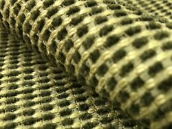 Nubby Sage Green Beige Mid Century Modern Chenille Upholstery Fabric $28.00