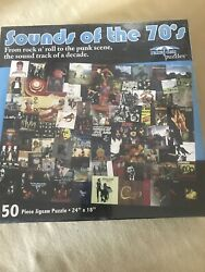 """NWOT Sounds Of The 70's 550  Piece Jigsaw Puzzle 24"""" X 18""""Rainy Day Puzzles New $12.99"""