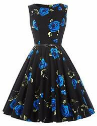 GRACE KARIN Hepburn Style Retro Swing Dresses Crew Neck Floral-24 Size X-Large $19.75