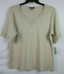 Karen Scott Plus Women#x27;s Lace V Neck Shirt Top Blouse Size 1X Color Pebble $18.99