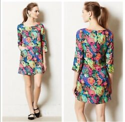 Anthropologie Size Small HD in Paris Tropicalist Shift 3 4 Sleeves Mini Dress $55.00